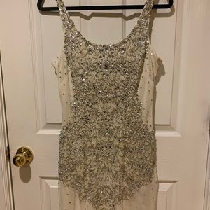 Adrianna Papell beaded white dress- size 6